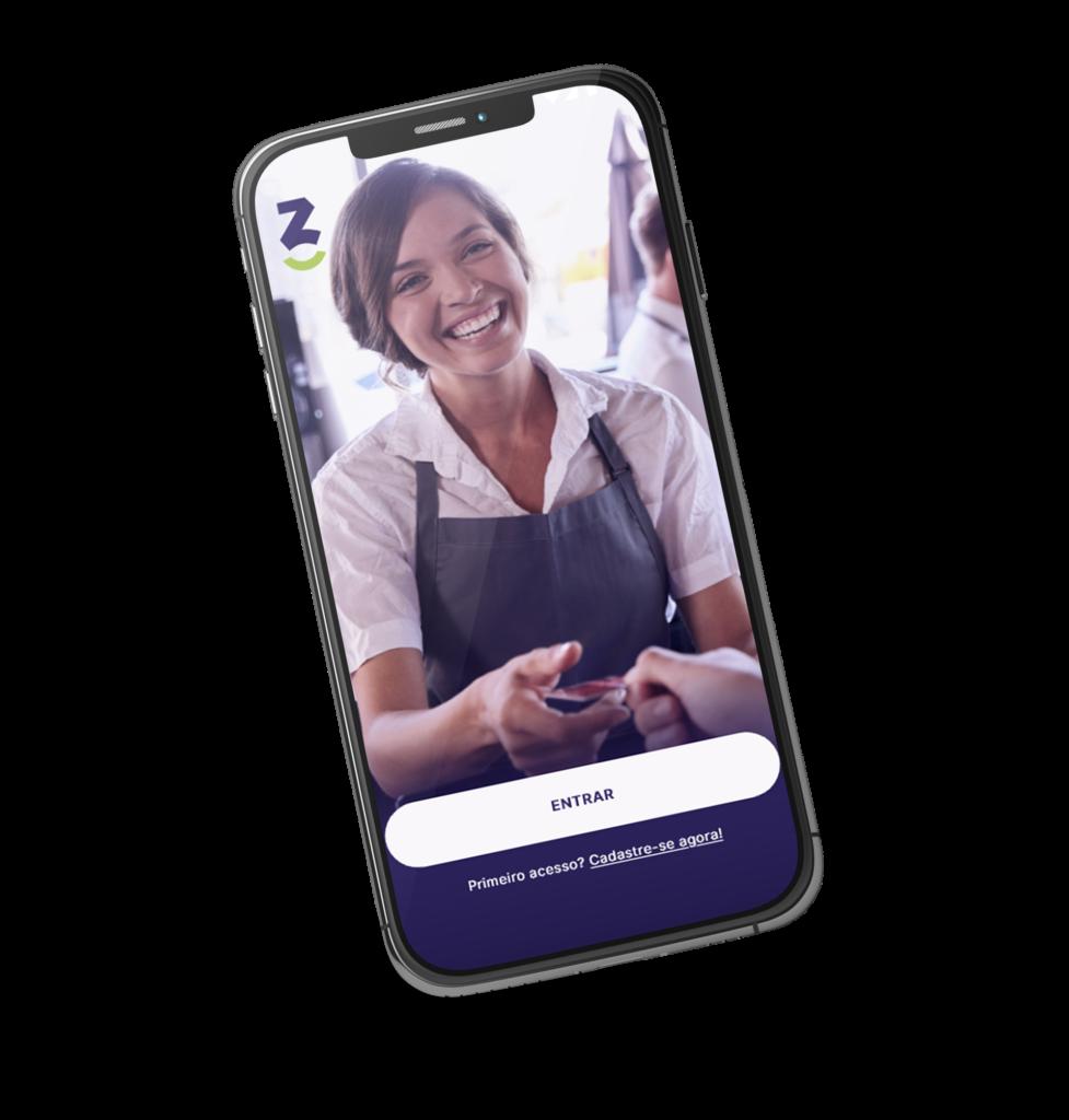 Imagem reproduzindo a tela inicial de login do app do Z3 Bank no celular