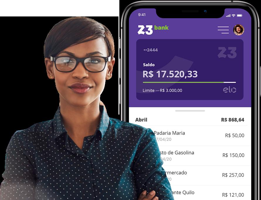 Empresária e tela do app representando a conciliação de cartões do Z3